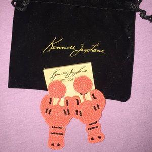 Kenneth jay lane coral lobster clip earrings